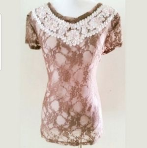 FREE PEOPLE BOUTIQUE LACE RAINBOW TOP SZ M
